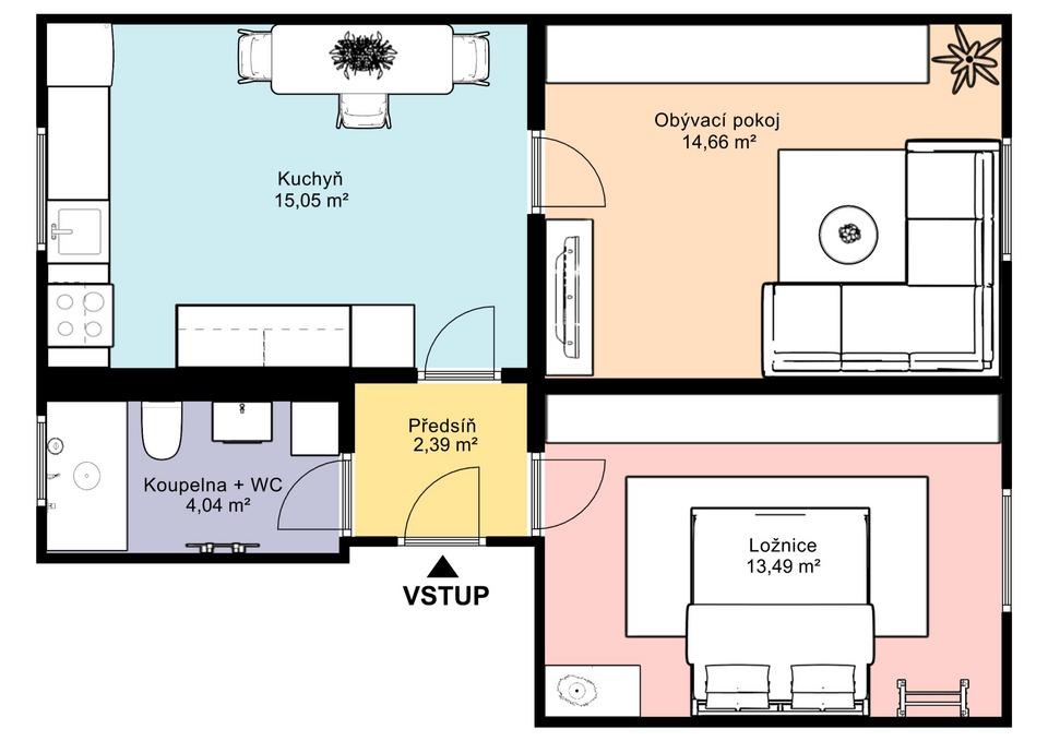 02.Dispoziční půdorys bytu 2+1 - varianta s obývacím pokojem a ložnicí