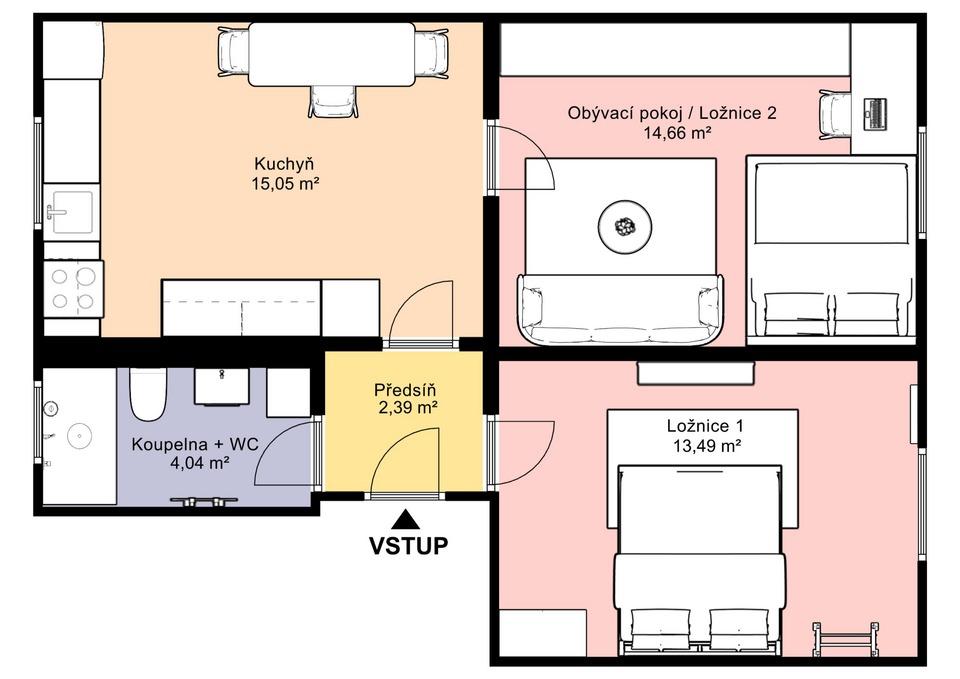 03.Dispoziční půdorys bytu 2+1 - varianta s ložnicí a dětským pokojem